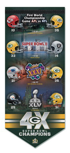 Green Bay Packers 4-Time Super Bowl Champions Commemorative Premium Felt WALL SCROLL