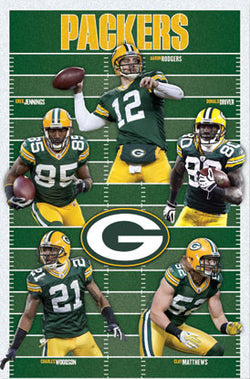 "Green Bay Packers ""Gridiron Five"" (2010) NFL Action Poster - Costacos Sports"