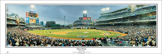 San Diego Padres First Pitch at Petco Park (April 8, 2004) Panoramic Poster Print - Everlasting Images