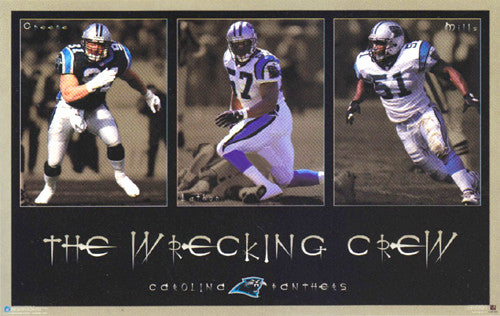 "Carolina Panthers ""The Wrecking Crew"" (Mills, Lathon, Greene) Poster - Costacos 1997"