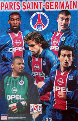"Paris Saint-Germain ""Five Stars"" Poster (Simone, Lama, Okocha, Robert) - Starline Inc. 1999"