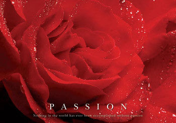 "Red Flower ""Passion"" Motivational Poster - Pyramid"