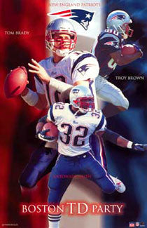 "New England Patriots ""Boston TD Party"" Poster (Brady, Brown, Smith) - Starline 2002"