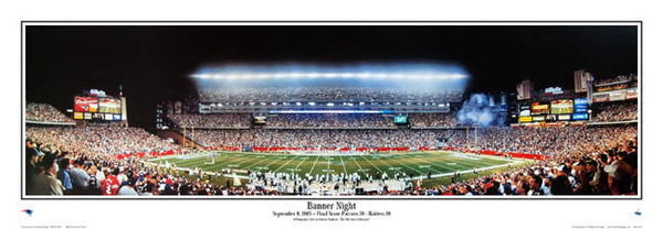 "Gillette Stadium ""Banner Night"" New England Patriots Panoramic Poster - Everlasting 2005"