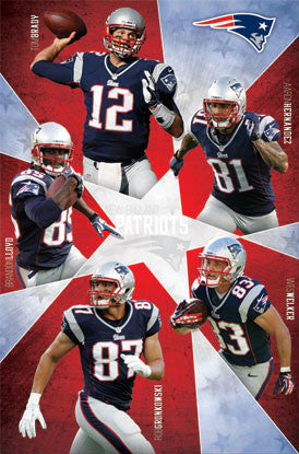 "New England Patriots ""Super Five"" (2012) NFL Action Poster - Costacos Sports"