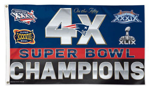 New England Patriots 4-Time Super Bowl Champions Historical Giant 3'x5' FLAG - Wincraft