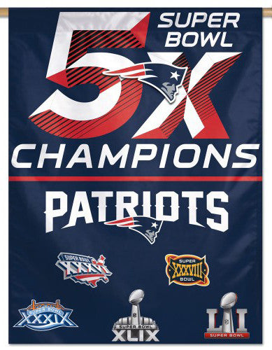 New England Patriots 5-TIME SUPER BOWL CHAMPS Premium 27x37 WALL BANNER - Wincraft