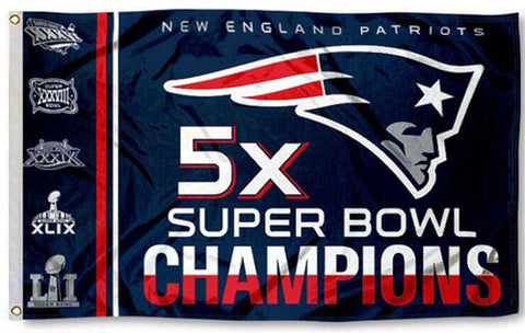 New England Patriots 5-Time Super Bowl Champions Historical Giant 3'x5' FLAG - BSI