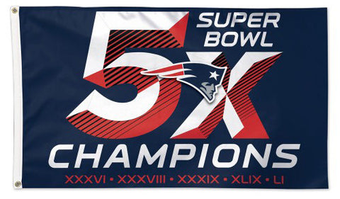 New England Patriots 5-TIME SUPER BOWL CHAMPS Premium Felt DELUXE 3'x5' FLAG - Wincraft