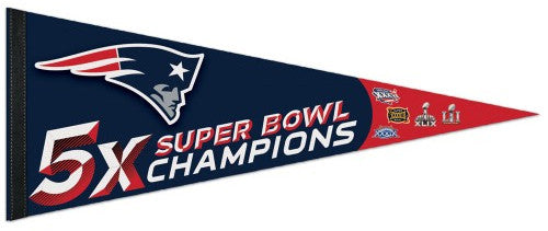 New England Patriots 5-TIME SUPER BOWL CHAMPS Premium Felt Collector's Pennant - Wincraft