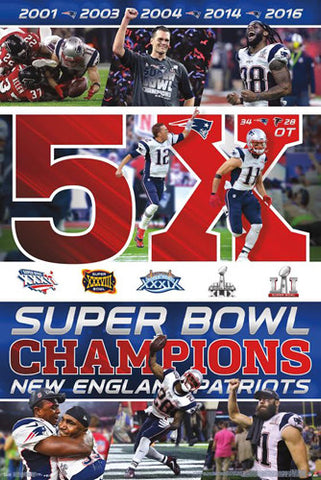 New England Patriots Super Bowl LI CELEBRATION 5X CHAMPS Poster - Trends 2017