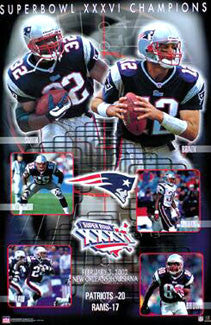 New England Patriots Super Bowl XXXVI (2002) Champions Commemorative Poster - Starline