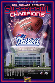 New England Patriots Super Bowl XXXVIII (2004 vs. Panthers) Champions Poster - Action Images