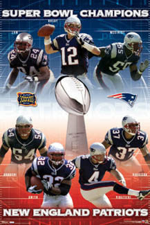 New England Patriots Super Bowl XXXVIII Champions Commemorative Poster - Costacos Sports