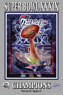 New England Patriots Super Bowl XXXIX Championship Poster - Action Images 2005
