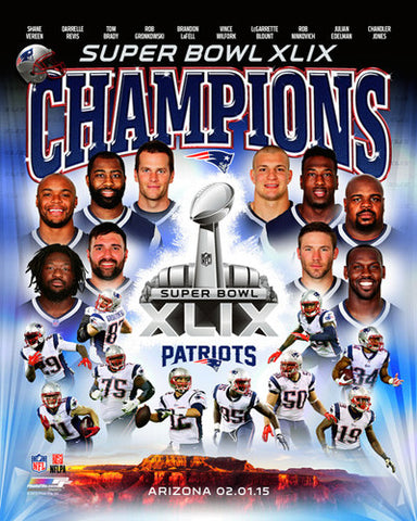New England Patriots Super Bowl XLIX Champions 10-Player Premium Poster Print - Photofile Inc.