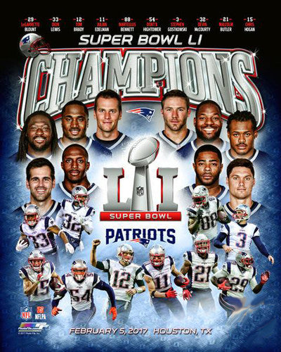 New England Patriots Super Bowl LI Champions 10-Player Premium Poster Print - Photofile