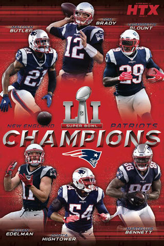 New England Patriots Super Bowl LI CHAMPIONS 6-Player Commemorative Poster - Trends 2017