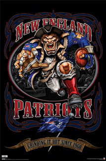 "New England Patriots ""Grinding it Out Since 1960"" NFL Theme Art Poster - Costacos Sports"