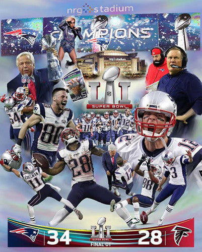 "New England Patriots ""Heaven in Houston"" Super Bowl LI Premium Art Collage Poster"