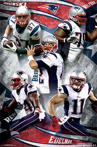"New England Patriots ""Big Five"" Poster (Brady, Gronkowski, Wilfork, Revis, Edelman) - Costacos 2014"