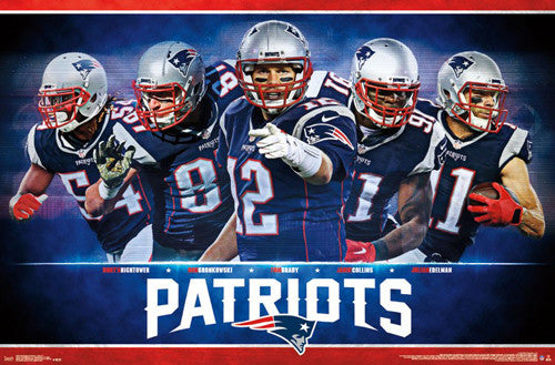 "New England Patriots ""Five Stars 2016"" Poster (Brady, Hightower, Gronkowski, Edelman, Collins)"