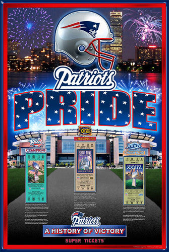 "New England Patriots ""History of Victory"" 3-Time Super Bowl Champs Poster"