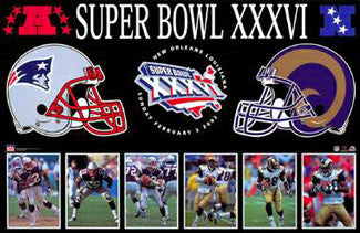 New England Patriots vs. St. Louis Rams Super Bowl XXXVI Poster - Starline 2002