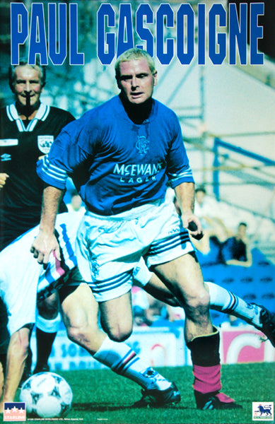 "Paul Gascoigne ""Action"" Glasgow Rangers SPL Soccer Poster - Starline Inc. 1995"