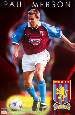 "Paul Merson ""Action"" Aston Villa FC Football Soccer Poster - Starline Inc. 1998"
