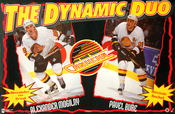 "Pavel Bure and Alexander Mogilny ""Dynamic Duo"" Vancouver Canucks Poster - Norman James 1995"