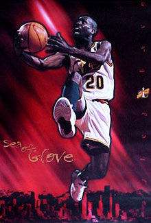 "Gary Payton ""Sea of Glove"" Seattle Supersonics Poster - Costacos 1996"