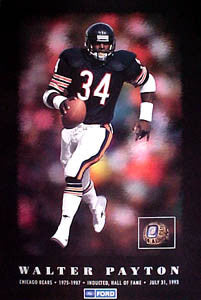 Walter Payton NFL Hall of Fame Chicago Bears Commemorative Poster - Ford 1993