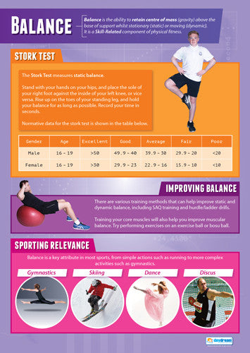 Physical Education BALANCE Professional Fitness Wall Chart Poster - Posterfit