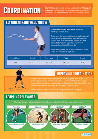 Physical Education COORDINATION Professional Fitness Wall Chart Poster - Posterfit