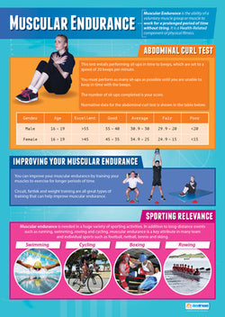 Physical Education MUSCULAR ENDURANCE Professional Fitness Wall Chart Poster - Posterfit