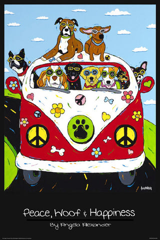 Peace, Woof and Happiness (Dogs Cruising in VW Bus) Poster by Angela C. Alexander