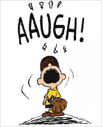 "Peanuts Baseball ""Aaugh!"" Poster Print (Charlie Brown on the Mound) - Applejack Art"