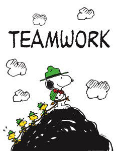 "Snoopy and Friends ""Teamwork"" (Scout Leader) Peanuts Poster Print"