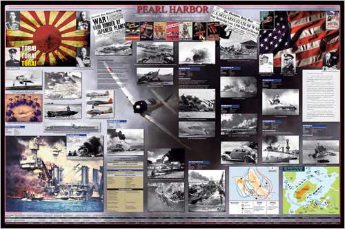 Attack on Pearl Harbor American History Wall Chart Poster - Eurographics Inc.