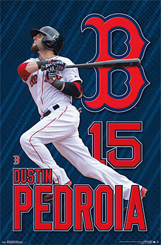 "Dustin Pedroia ""Blast"" Boston Red Sox MLB Baseball Action Poster - Trends International 2015"
