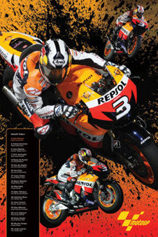 "Dani Pedrosa MotoGP ""Super Action"" Motorcycle Racing Poster - Pyramid 2009"