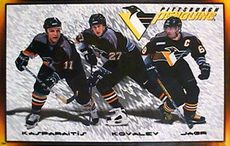 "Pittsburgh Penguins ""Three Stars"" Poster (Jagr, Kasparaitis, Kovalev) - Costacos 1999"