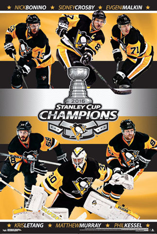 Pittsburgh Penguins 2016 Stanley Cup Champions 6-Player Commemorative Poster - Trends Int'l.