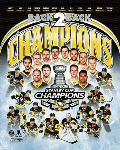Pittsburgh Penguins 2017 Stanley Cup Champions 12-Player Premium 16x20 Poster