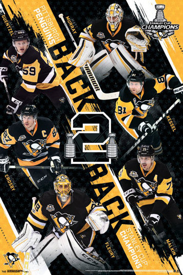 "Pittsburgh Penguins ""Back To Back"" 2017 Stanley Cup Champions Commemorative Poster"