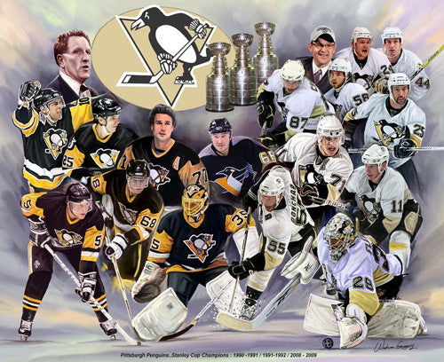 Pittsburgh Penguins Three-Time Stanley Cup Champs Art Collage Poster - Wishum Gregory
