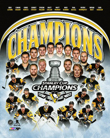 Pittsburgh Penguins 2016 Stanley Cup Champions 12-Player Commemorative Premium Poster - Photofile