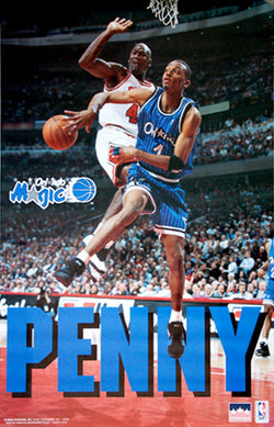 "Anfernee Hardaway ""Posterizing Michael Jordan"" Orlando Magic Poster - Starline 1995"