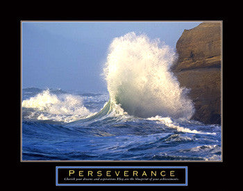 "Crashing Wave ""Perseverance"" Motivational Poster - Front Line"